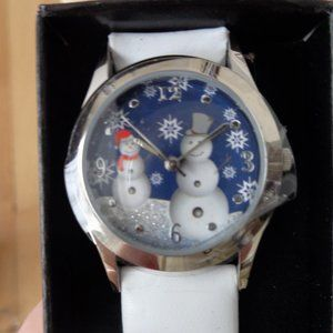New in box! Snowman holiday watch snowflake white